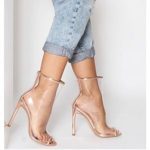 Rose gold lucite open toe booties
